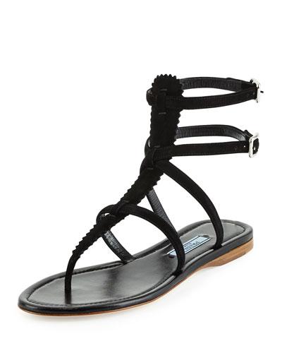e768b3c7bb7552 Prada Pinked Suede Flat Gladiator Sandal