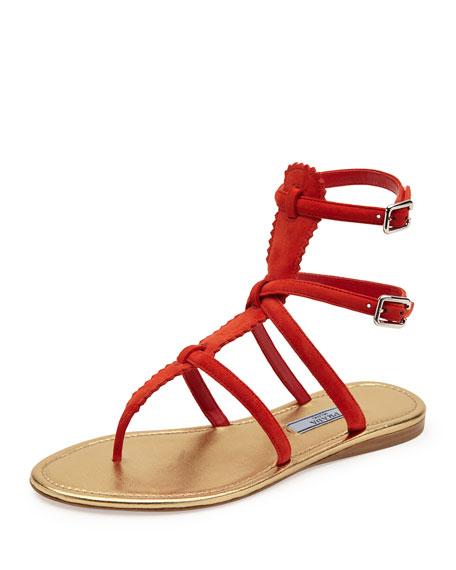 Suede Thong Gladiator Sandal, Red (Lacca)
