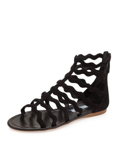 Wavy-Caged Flat Suede Sandal, Black (Nero)
