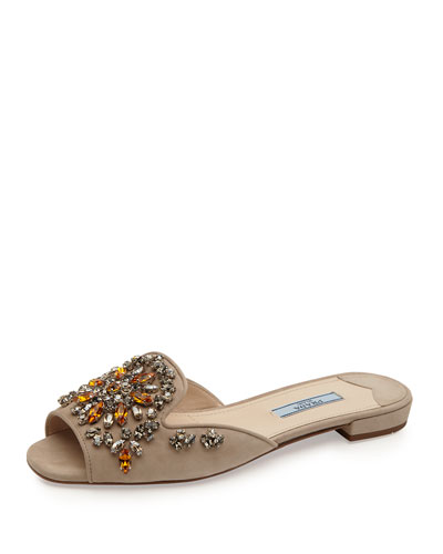 Crystal-Embellished Suede Flat Slide, Quarzo