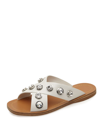 Crystal Crisscross Flat Sandal, White (Bianco)