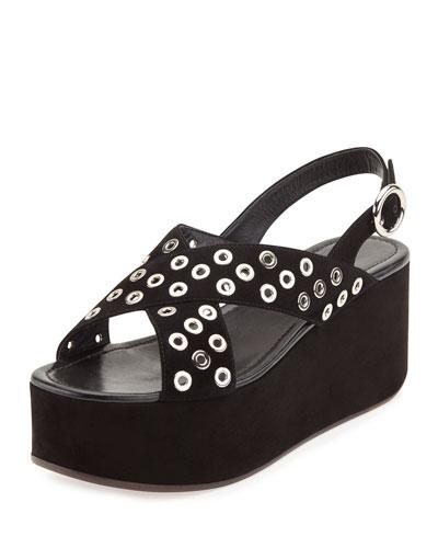 Rivet-Studded Suede Platform Sandal, Black