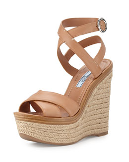 Leather Ankle-Wrap Wedge Sandal, Naturale