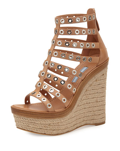 Studded Leather Cage Wedge Sandal, Natural