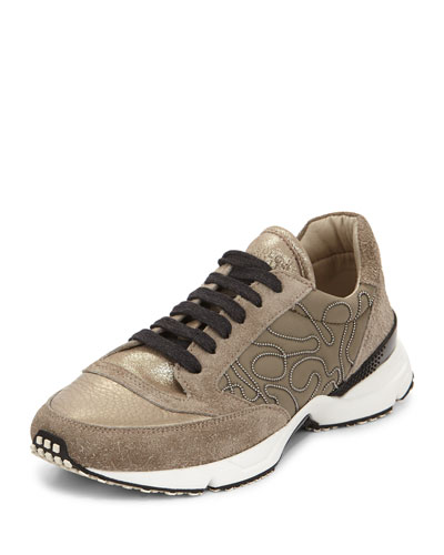 Metallic Monili-Beaded Sneaker, Military