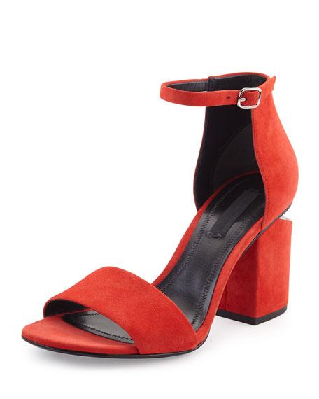 Abby Tilt-Heel d'Orsay Suede Sandal, Red