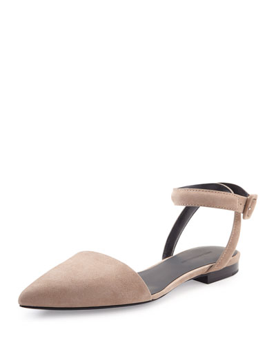 Lauren Ankle-Wrap d'Orsay Suede Flat, Sand