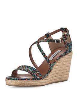 Liu Floral-Print Twill Wedge Sandal, Multi