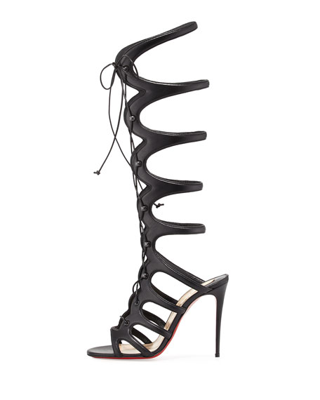 Amazoula 100mm Leather Tall Gladiator Red Sole Sandal, Black