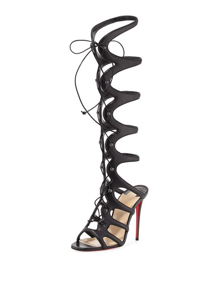 Christian Louboutin Amazoula 100mm Leather Tall Gladiator Red