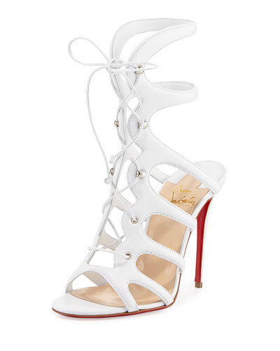 Amazoula Lace-Up Red Sole Sandal, White