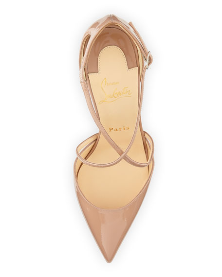 Cross Blake 100mm Patent Red Sole Pump, Nude