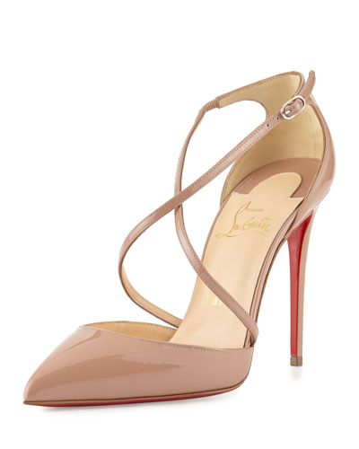 christian louboutin pointed-toe booties White canvas patent ...