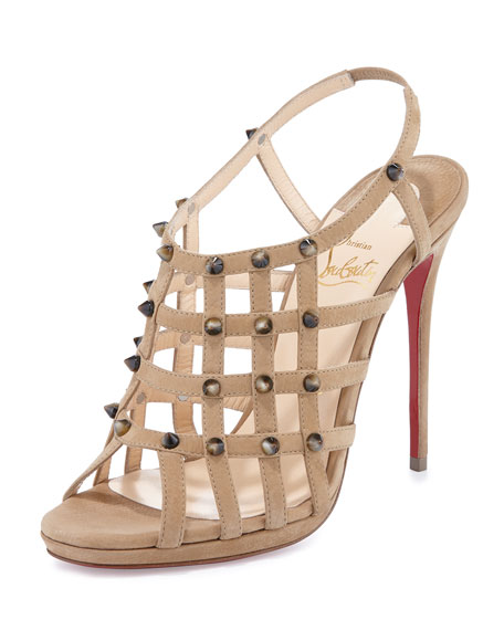 Christian Louboutin Guinievre Caged Suede Red Sole Sandal,