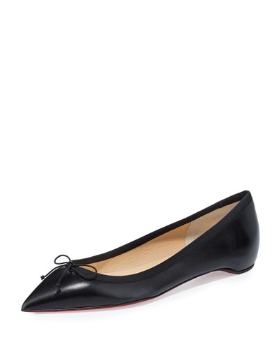 CHRISTIAN LOUBOUTIN Solasofia Leather Red Sole Flat, Black