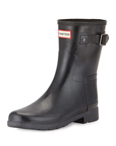 Original Refined Gloss Short Rain Boot, Black