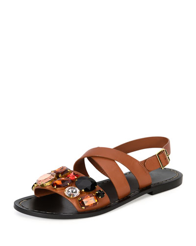 Jeweled Leather Flat Sandal, Caramel