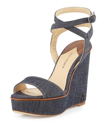 Laura Denim Wedge Sandal, Indigo/Cuoio