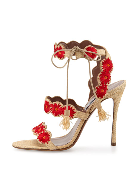 Tabitha Simmons Ollie Floral-Embroidered Raffia Sandal