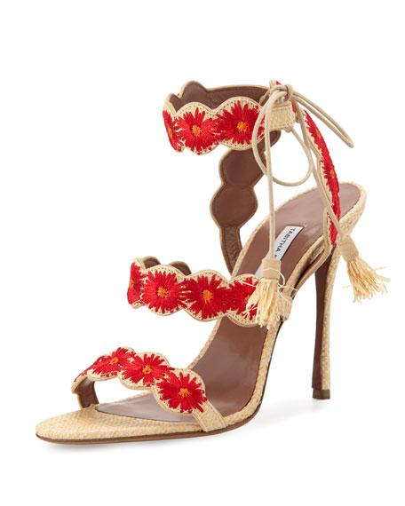 Ollie Floral-Embroidered Raffia Sandal, Natural/Red
