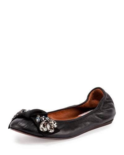 Jeweled Leather Ballerina Flat, Black