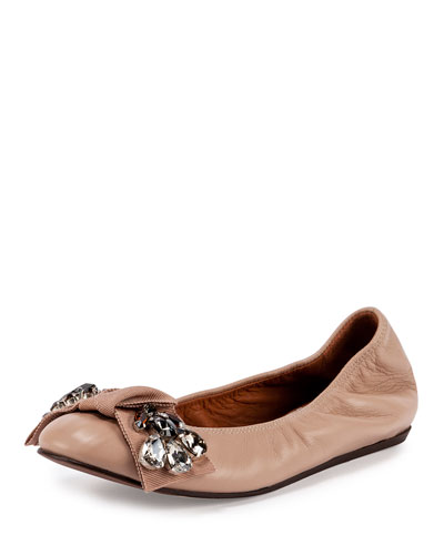 Jeweled Leather Ballerina Flat, Nude