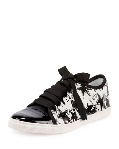Graffiti-Print Low-Top Sneaker, White/Black