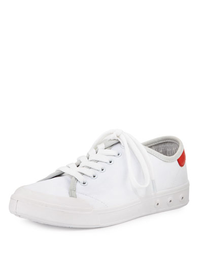 Standard Issue Canvas Lace-Up Sneaker, White/Red