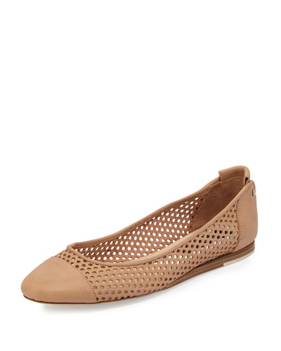 Sybil Perforated Leather Ballerina Flat, Tan