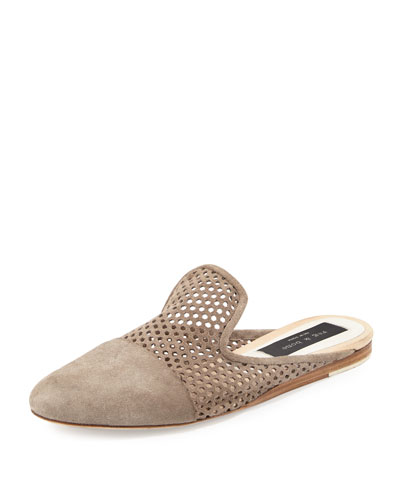 Sabine Flat Perforated Suede Mule, Gray