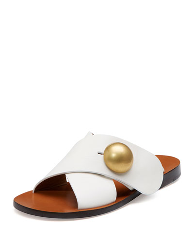 Jane Crisscross Button Flat Sandal, White