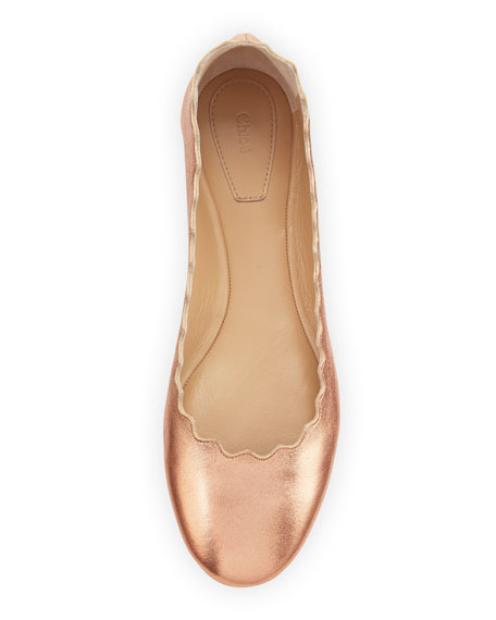 e3a33eaf79a Chloe Lauren Scalloped Leather Ballerina Flat
