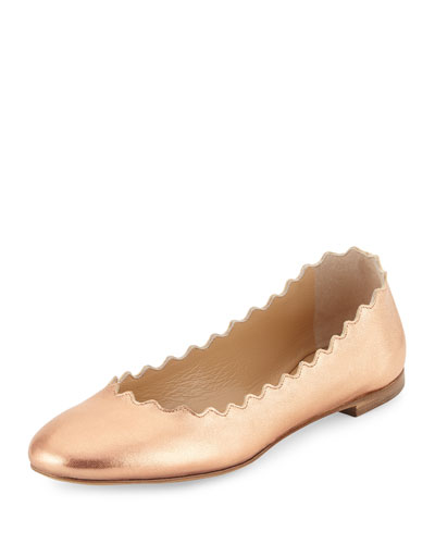 Lauren Scalloped Leather Ballerina Flat, Pastel Rose Gold