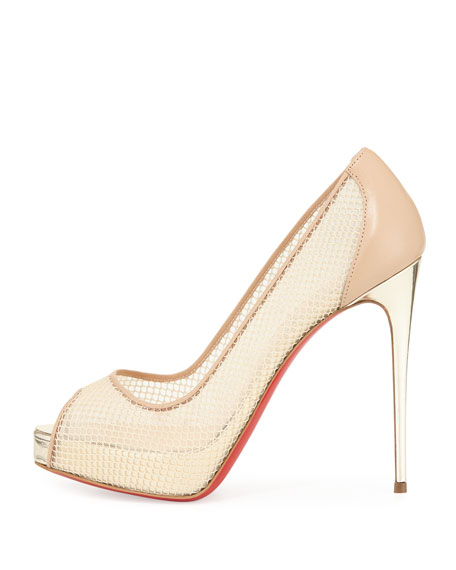 low priced 236c0 1564a Christian Louboutin Very Rete 120mm Red Sole Pump, Beige