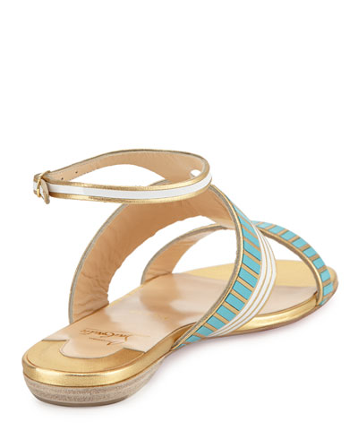 CHRISTIAN LOUBOUTIN Very Sekmet Flat T Strap Red Sole Sandal Pacific