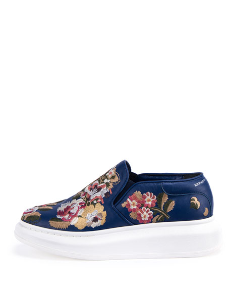 Embroidered Slip-On Sneaker, Navy/Multi