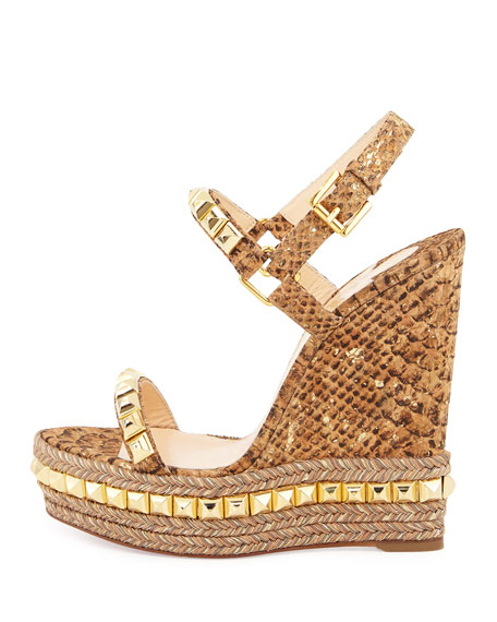 Cataclou Studded Cork Wedge Sandal, Gold