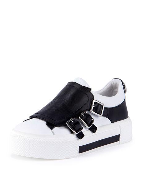 5f66d4195b Alexander McQueen Leather Monk-Strap Sneaker, Black/White