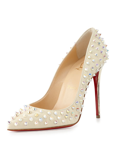 save off df150 1fbdc Christian Louboutin Follies Spikes 100mm Red Sole Pump, White