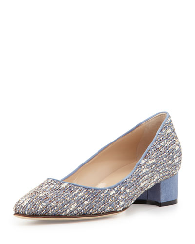 Listony Tweed Mid-Heel Pump, Almond/Navy