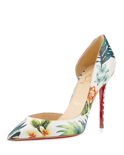 Iriza Floral Half-d'Orsay Red Sole Pump, White