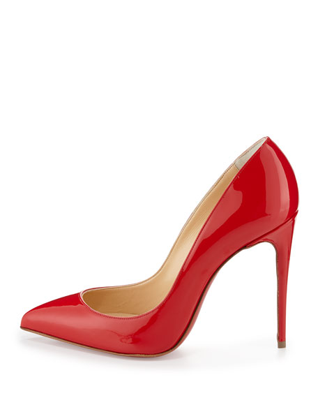 Pigalle Follies Patent 100mm Red Sole Pump, Red