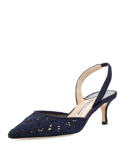 Carolyne Eyelet Halter 50mm Pump, Navy