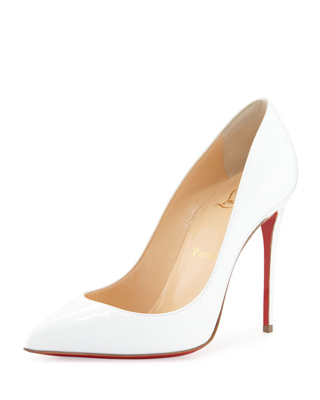 Pigalle Follies Point-Toe Red Sole Pump, White