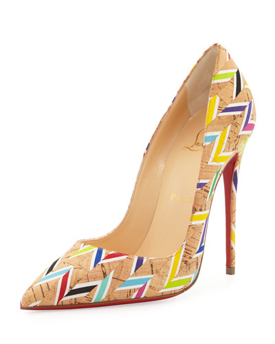 So Kate Chevron Cork Red Sole Pump, Multi