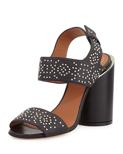 Edgy Studded Two-Band Sandal, Black