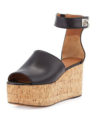 Sharklock Platform Cork Sandal, Black