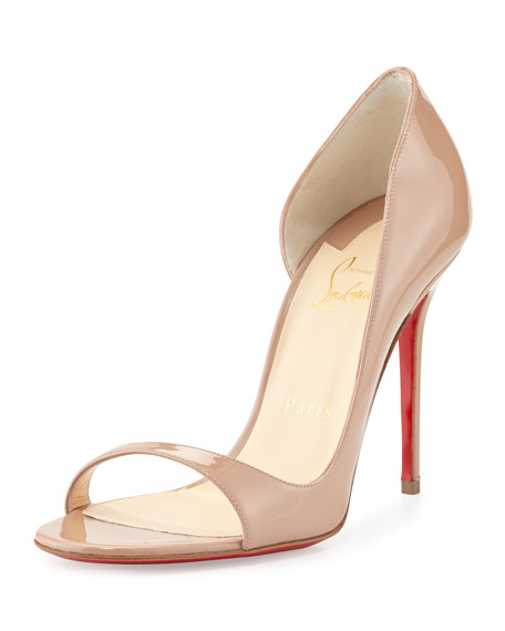 Toboggan Half-d'Orsay Red Sole Pump, Nude