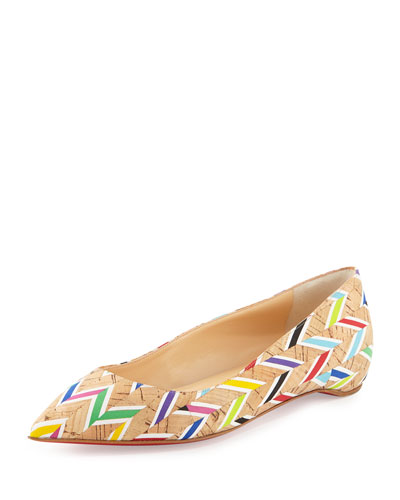 Pigalle Follies Chevron-Striped Red Sole Flat