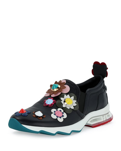 Flower-Embellished Laceless Leather Trainer, Black/Multi